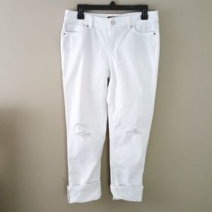 WHBM - Destroyed White Denim Slim Cropped Jeans